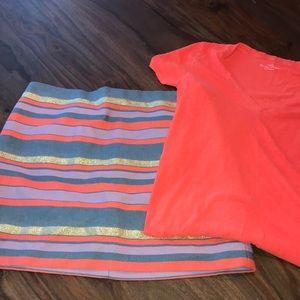 J CREW mini skirt and t shirt neon orange chambray
